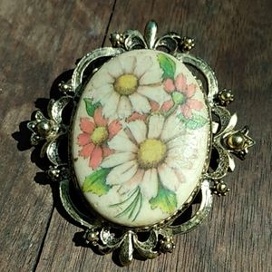 1960's Hand painted Floral Pendant